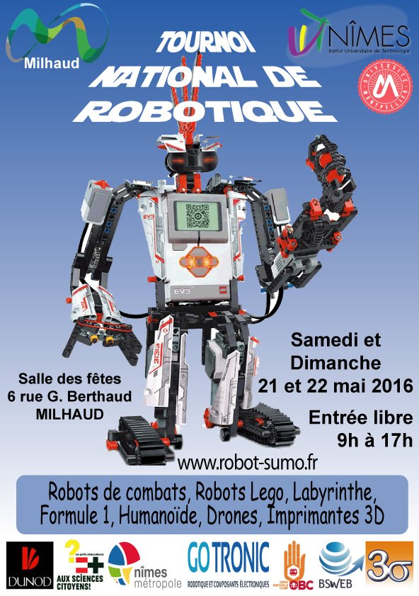 Affiche du tournoi national de robotique de Nîmes